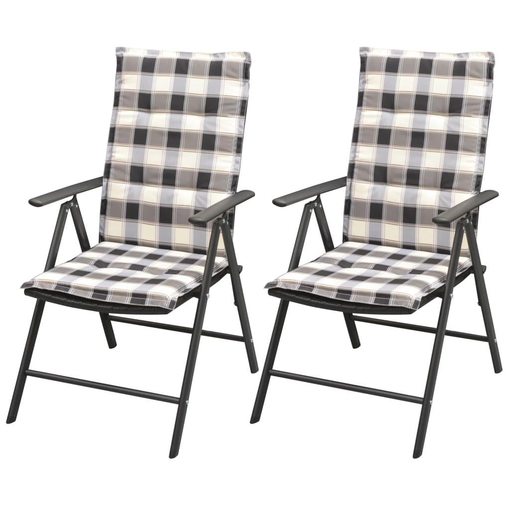 vidaXL 2 db fekete alumínium polyrattan kerti szék párnával