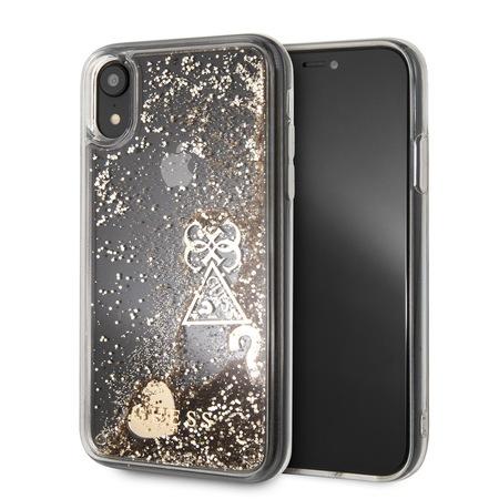 Протектор Guess за iPhone XR, Hearts/Glitter Gold