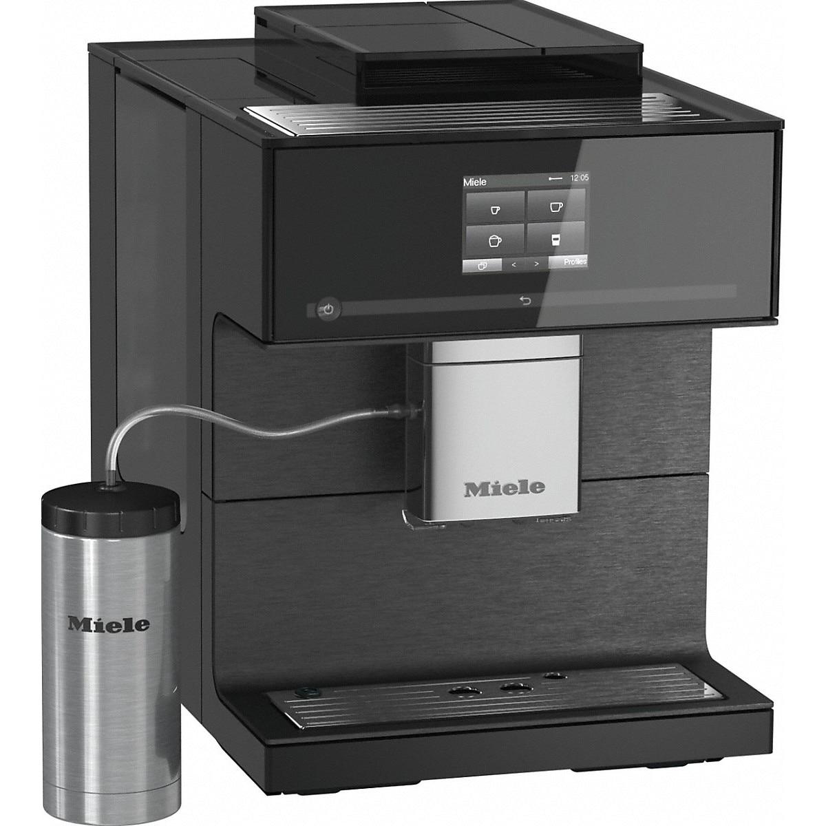 Fotografie Espressor automat Miele CM 7750, One Touch for Two, Aromatic SystemFresh, AutoDescale, WLAN, 2.2 l, 3 recipiente cafea, Negru
