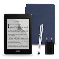 Комплект: eBook четец Kindle Paperwhite (2018), 8GB, Черен + Калъф, Тъмносин