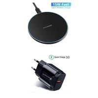 e-smartgadget, gyors töltésű vezeték nélküli töltő, 15W, iPhone 11 töltőpult, Promax 8 / X, Samsung Galaxy S10 / 8/9 / Note 10.8 / 9 + 9V / 2A töltő - fekete