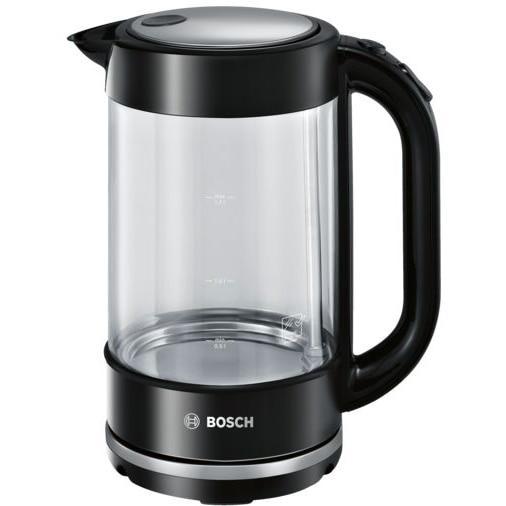 Fotografie Fierbator apa Bosch TWK70B03, 2400 W,1.7 L, Cana sticla, Filtru anticalcar, Deconectare automata, Inox