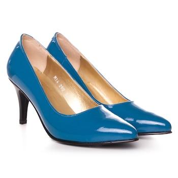 Kék színű, extra minőségű természetes bőrből készült stiletto típusú női cipő, 37-es méret