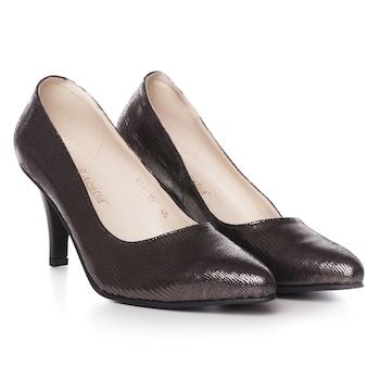 Barna színű, extra minőségű természetes bőrből készült stiletto típusú női cipő, 39-es méret