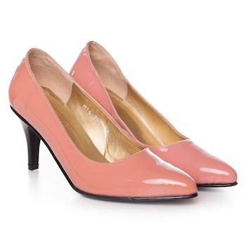 Rózsaszín színű, extra minőségű természetes bőrből készült stiletto típusú női cipő, 40-es méret
