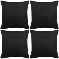 Комплект калъфки за възглавници vidaXL, 4 броя Полиестер, 80 х 80 см, Черен