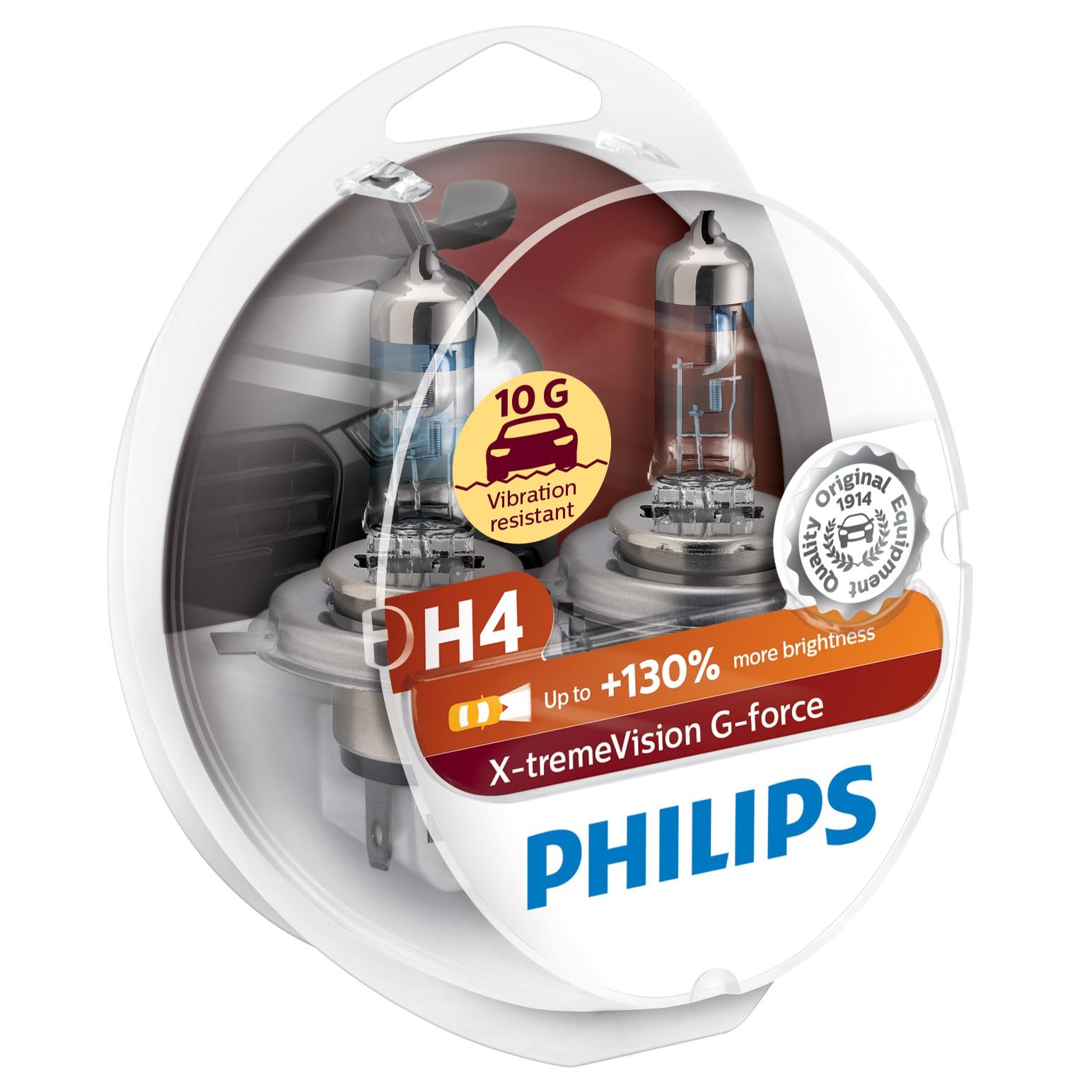 Fotografie Set 2 becuri auto cu halogen Philips H4 Xtreme Vision+130% rezistent 10G, 12V, 60/55W, P43T-38