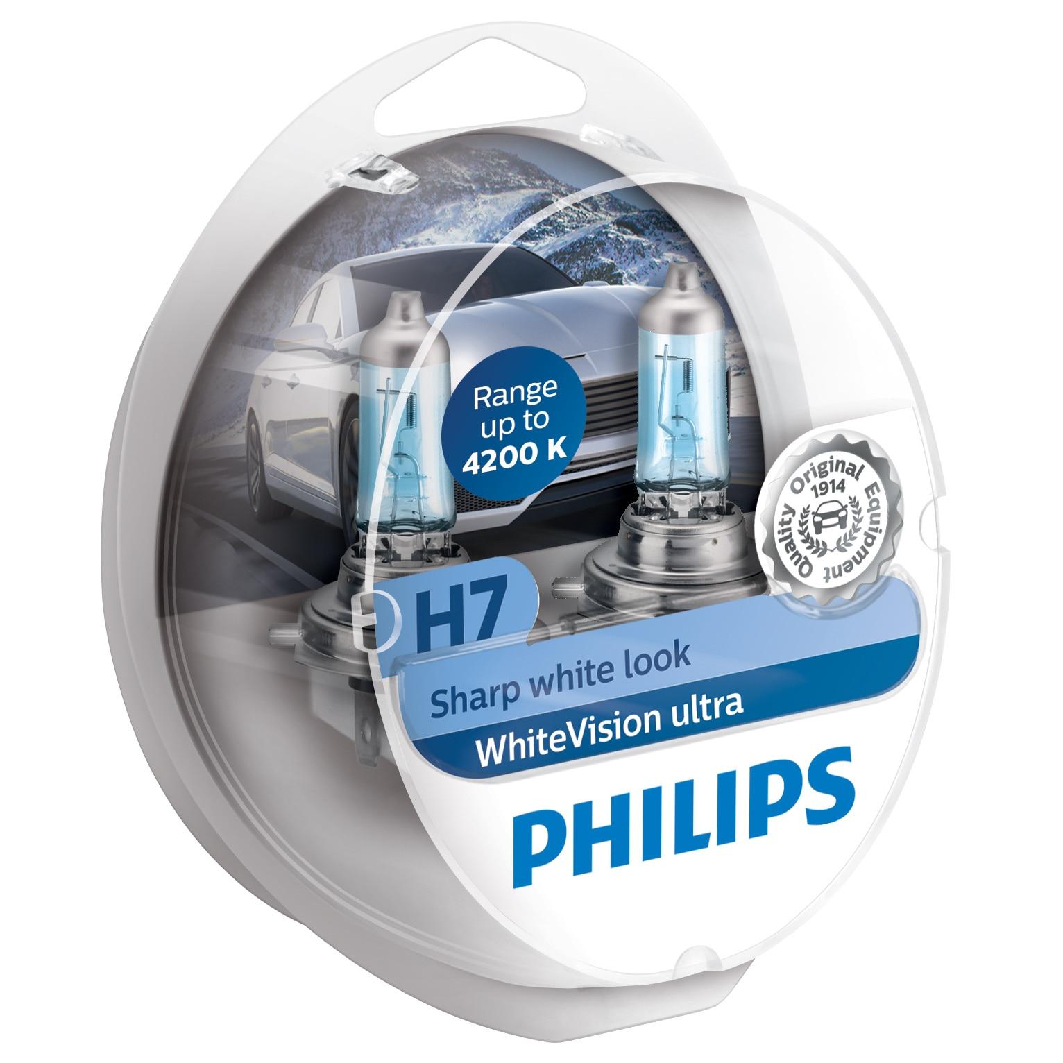 Fotografie Set 2 becuri auto cu halogen Philips H7 White Vision Ultra, 4200K, 12V, 55W, PX26D