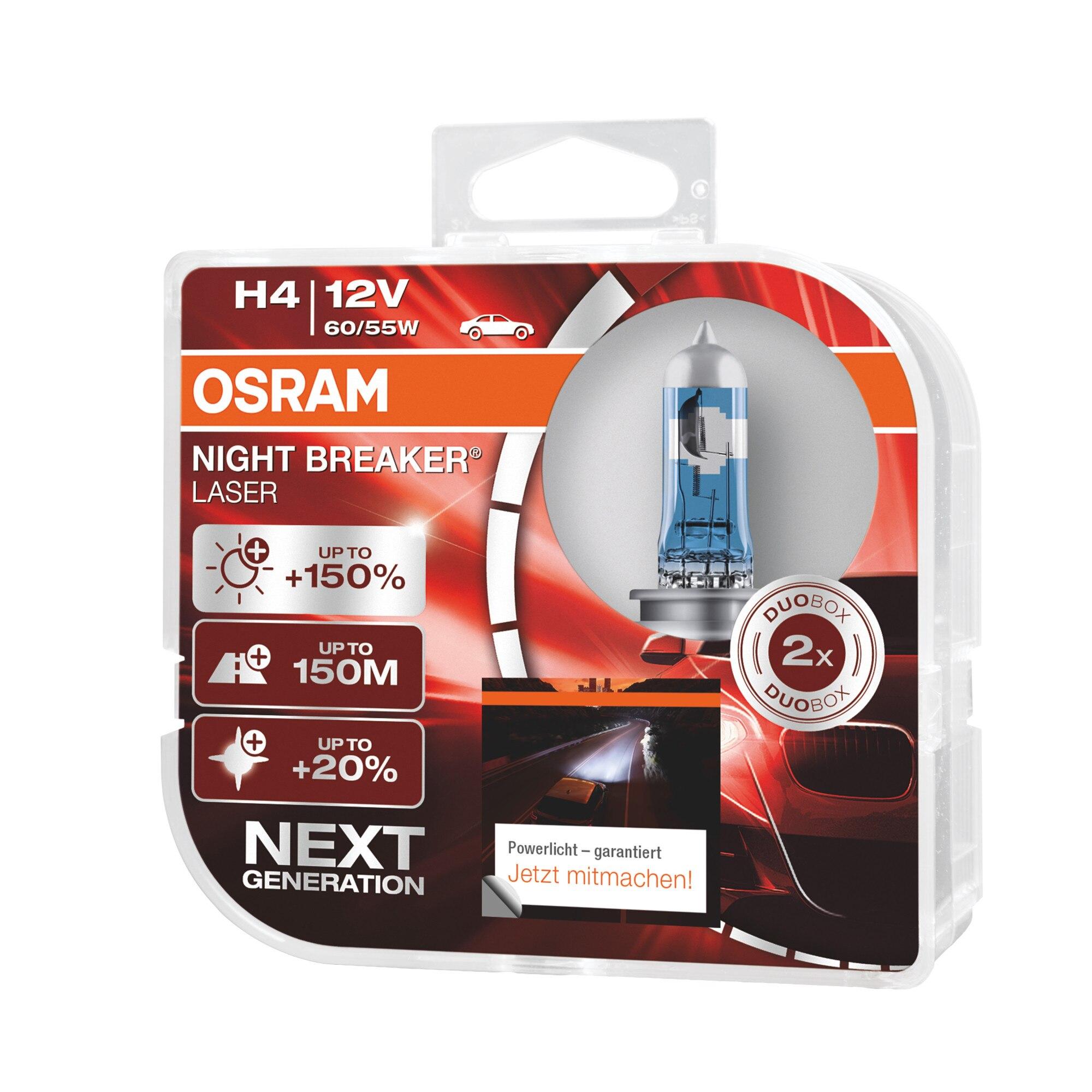 Fotografie Set 2 becuri auto cu halogen Osram H4 Night Breaker Laser Next Gen +150% ,60/55W, 12V, P43T