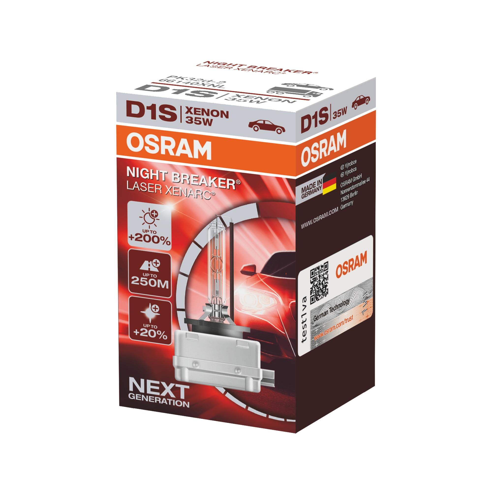 Fotografie Bec auto far xenon Osram D1S Night Breaker Laser +200%, 35W, PK32d-2, cutie 1buc