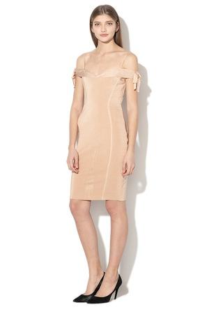 GUESS JEANS, Рипсена рокля по тялото, Камел