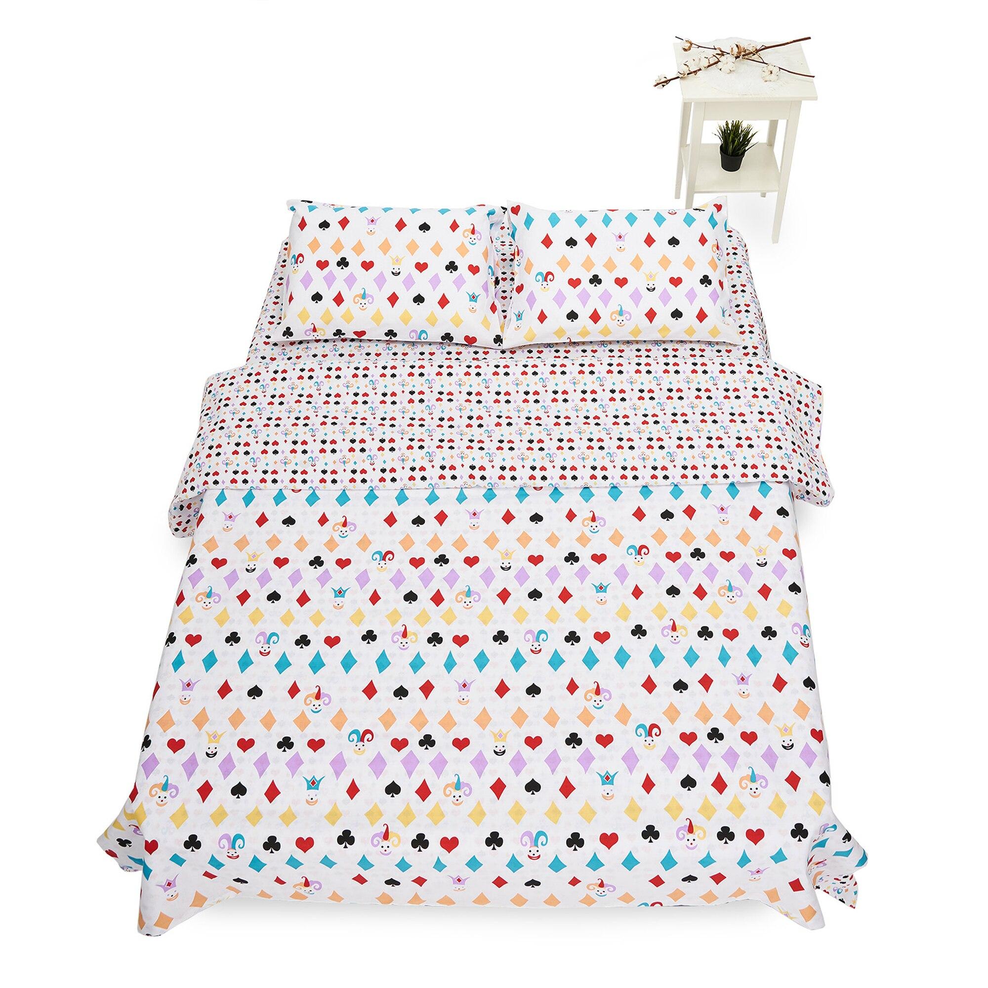 Fotografie Lenjerie de pat pentru 2 persoane Heinner Home, 100% bumbac, 4 piese, Alb/Galben