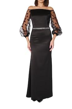 Beatitude - Hosszú, fekete testhez álló elegáns, alkalmi ruha tüll ujakkal. 38-as méret.