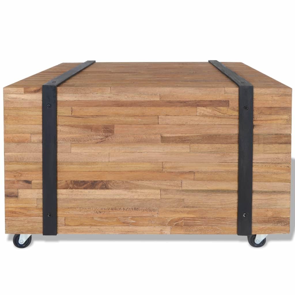 vidaXL tömör tíkfa kisasztal 60 x 60 x 38 cm dRy05a