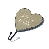"Szív alakú fa fogas 1 fém akasztóval ""You Are in My Heart"" szürke"