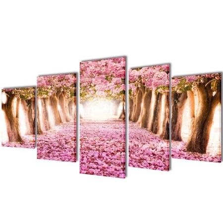 vidaXL Vászon falikép szett cseresznyevirág 100 x 50 cm