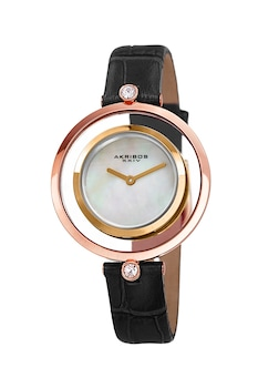 AKRIBOS XXIV, Часовник с кристали Swarovski, Черен