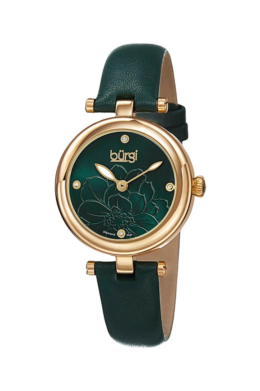 Fotografie Burgi, Ceas decorat cu 4 diamante, Verde inchis