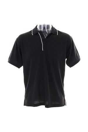 Férfi galléros póló rövid ujjú Kustom Kit Essential Polo Shirt Fekete/Fehér L INTL