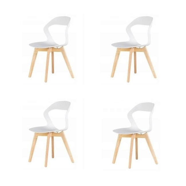 GoodHome készlet 4x modern szék konyha, nappali, étkező vagy kültéri használathoz, PC 020 modell, fehér szín