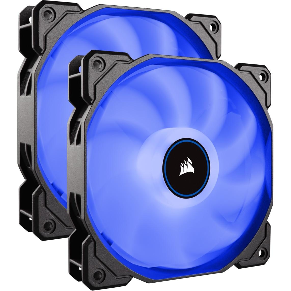Fotografie Ventilator PC Corsair AF140 LED Low Noise Cooling Fan, 1200 RPM, Dual Pack - Blue