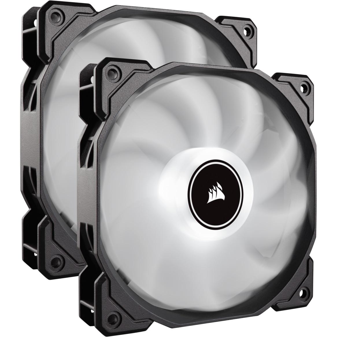 Fotografie Ventilator PC Corsair AF140 LED Low Noise Cooling Fan, 1200 RPM, Dual Pack - White