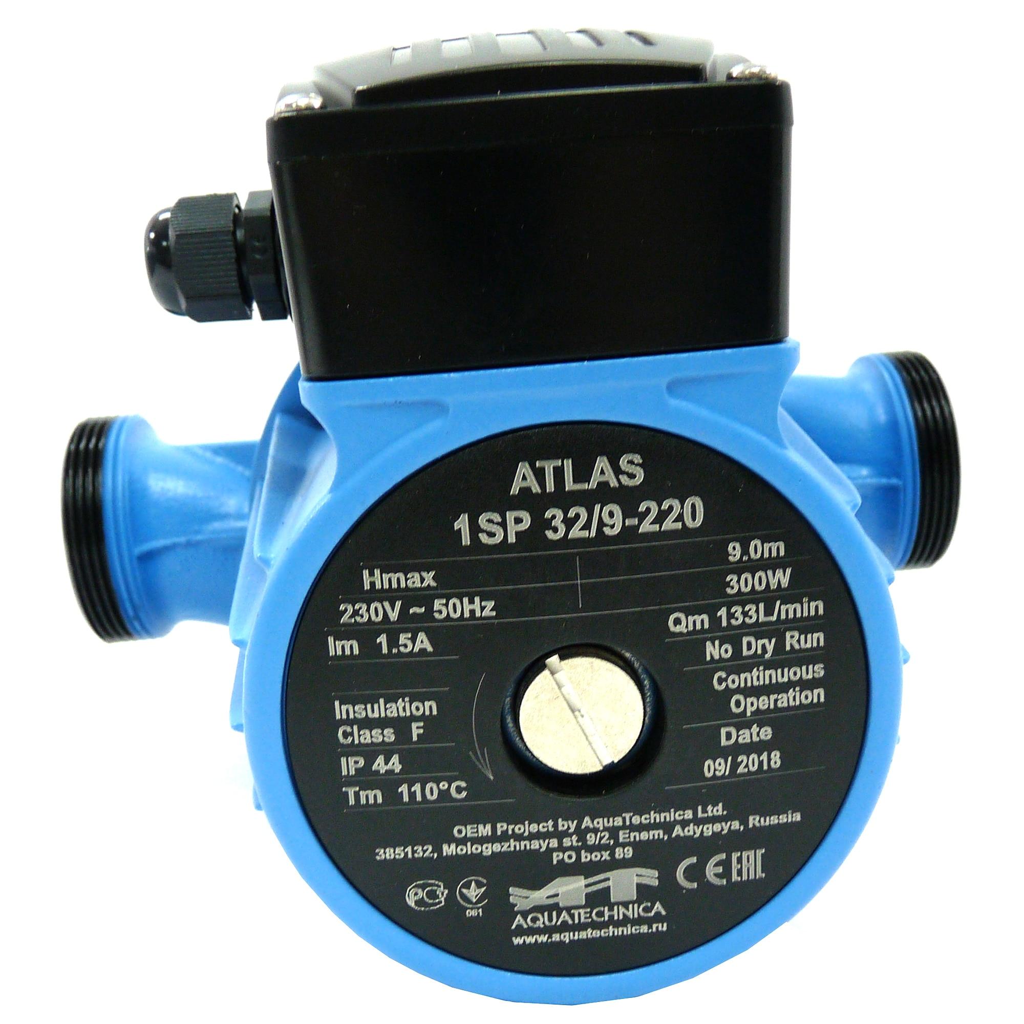 Fotografie Pompa de recirculare AQUATEHNICA ATLAS, 300 W, 3 viteze, 32/9-220 mm
