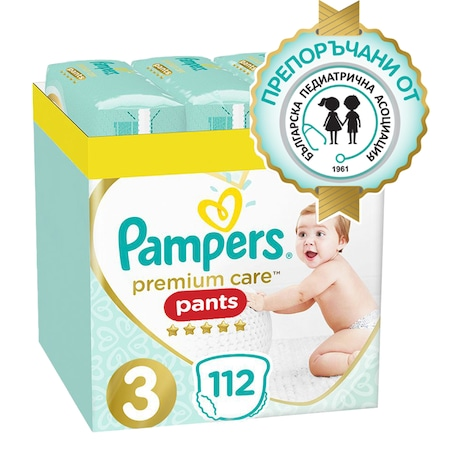 Пелени-гащички Pampers Premium Care Pants XXL Box, Размер 3, 6-11 кг, 112 броя