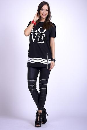 Fekete bőrhatású leggings - méret nélküli
