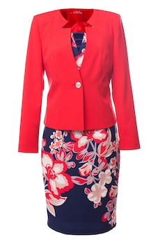 Viada női öltöny virágmintás szoknyával és piros zakóval