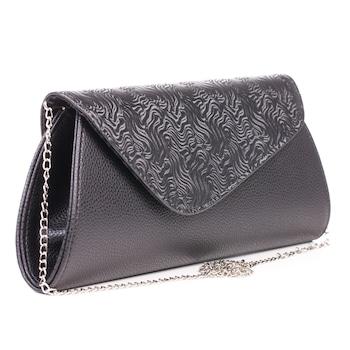 Fekete színű, aszimmetrikus fedelű, környezetbarát bőrből készült Gentomix női alkalmi táska