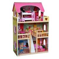Casuta pentru papusi Lena, 3 etaje din lemn cu accesorii, 9+, Multicolor