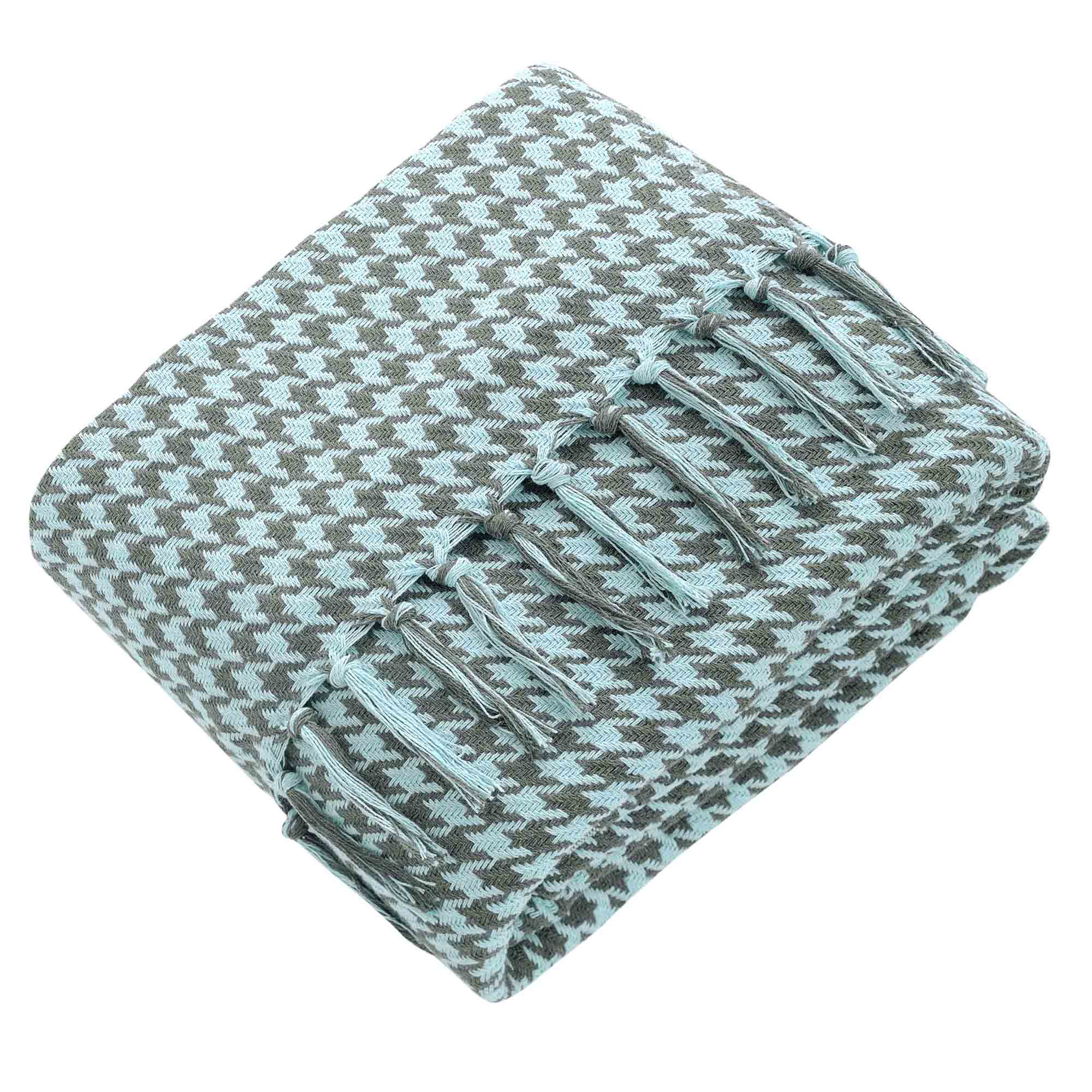 Fotografie Patura Throw Cozy cu ciucuri Home Stil, 80% bumbac, 20% PES, 200x230 cm, model retro de impletitura, Alb/Verde menta