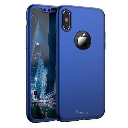 iPaky 360 iPhone X/Xs 3 Piece Design elő-hátlap tok és edzett üveg, kék