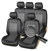 Комплект Калъфи/тапицерия за автомобил Flexzon, За предни и задни седалки, Еко кожа, Черно и Сиво