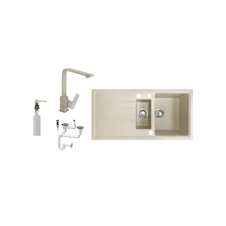 Laveo J995-50B Gránit Mosogató + Design Csap + Adagoló + Dugóemelő