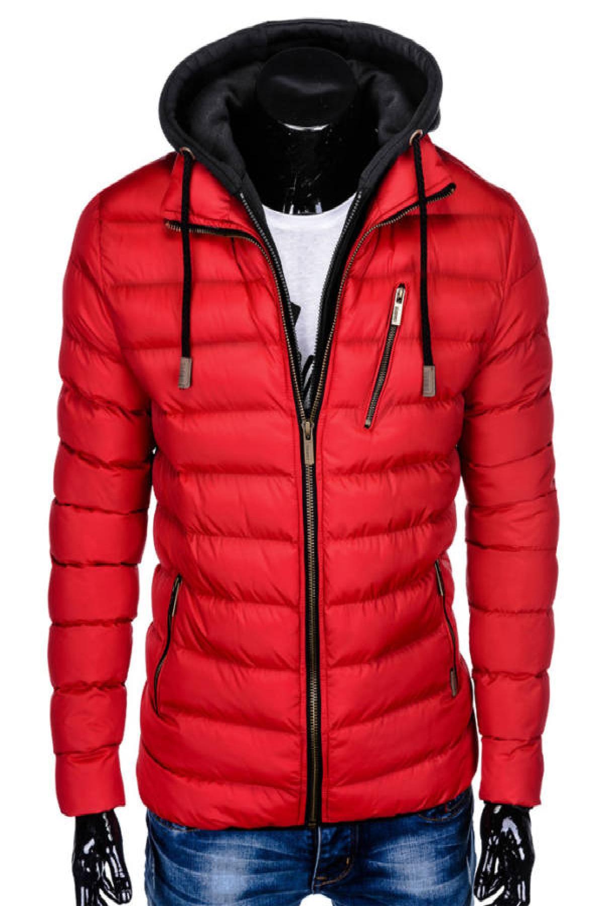 Ombre C384 férfi téli dzseki Piros, M