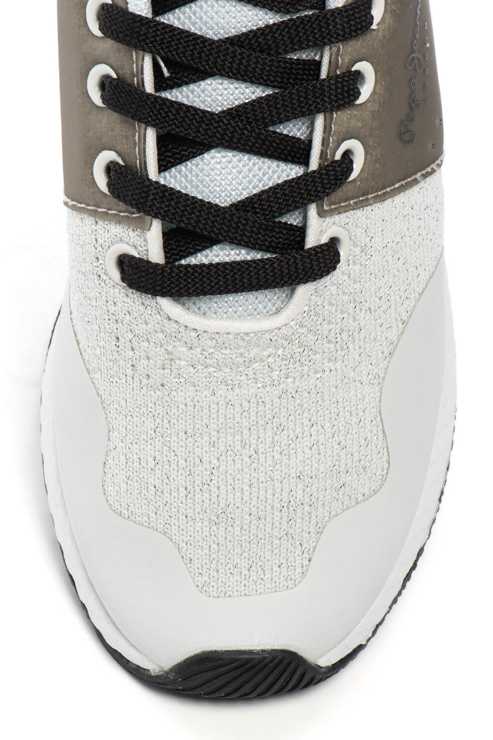 Pepe Jeans London, Koko Sand kötött sneakers cipő fémes betétekkel, Fehér, 41