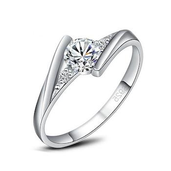 Női gyűrű, drágakővel, 925 ezüst bevonattal