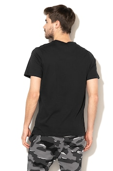 Nike, Dri Fit kerek nyakú sportpóló, Fekete/Fehér