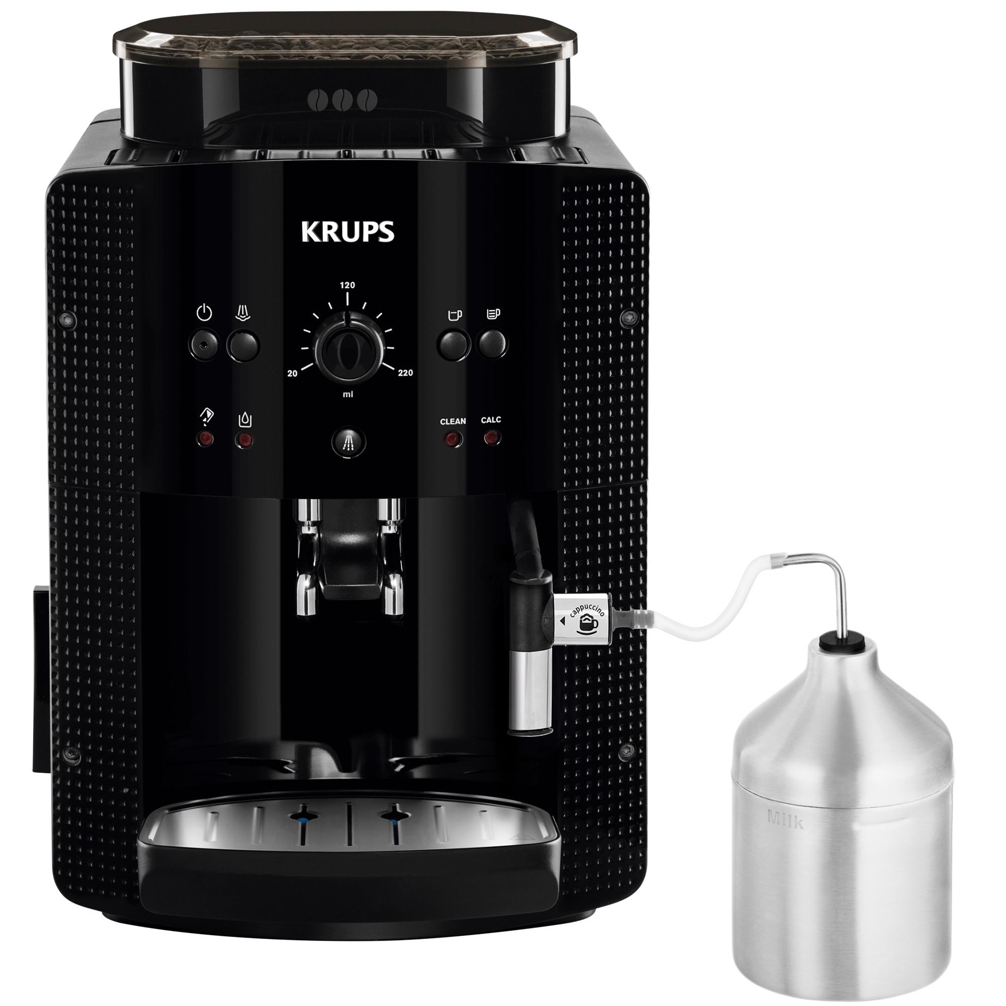Fotografie Espressor automat Krups EA81M870 Essential, 1450 W, 15 bar, Recipient Lapte, rasnita metal, Thermoblock, Negru