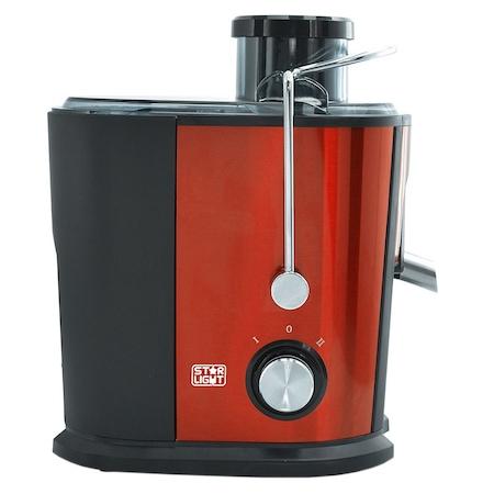 Storcator de fructe si legume Star-Light RPJ-500W, 500 W, Recipient suc 0.35 l, Recipient pulpa 1.3 l, Tub de alimentare 65 mm, Negru/Rosu