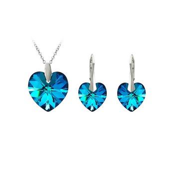 Ékszer szett: fülbevaló+ nyaklánc, oceanic blue, 925 ezüst bevonat