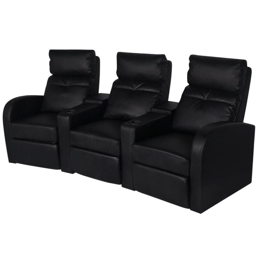 vidaXL LED 3 személyes műbőr dönthető támlájú fotel fekete 5Yxm8C