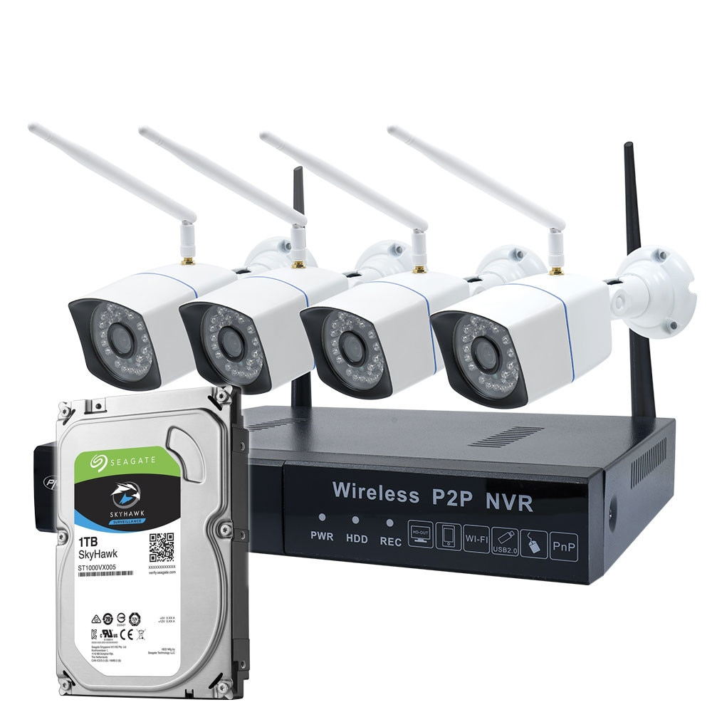 Fotografie Pachet Kit supraveghere video PNI House WiFi550 NVR si 4 camere wireless, 1.0MP, HDD 1TB