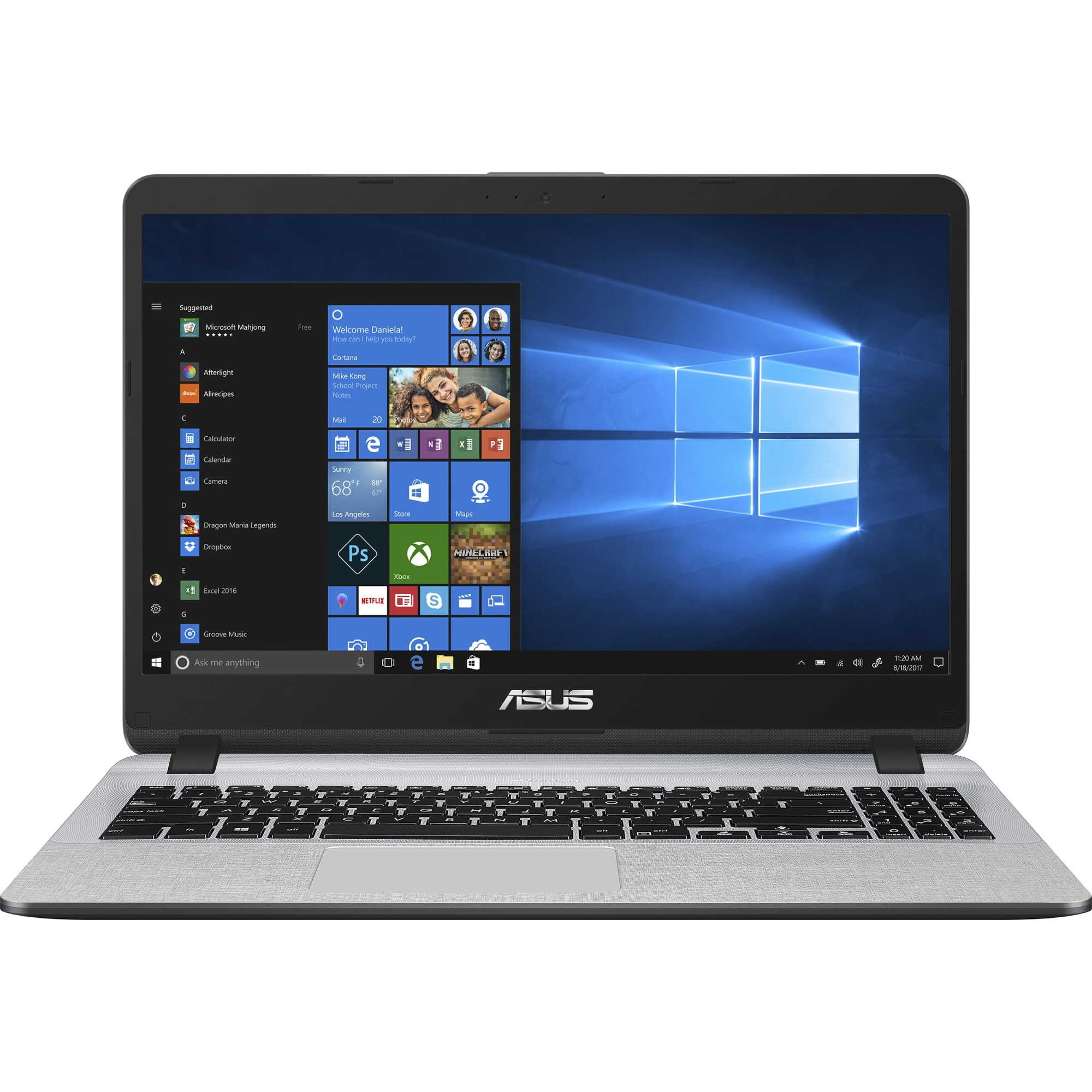 "Fotografie Laptop ASUS X507UA cu procesor Intel® Core™ i5-8250U pana la 3.40 GHz, Kaby Lake R, 15.6"", Full HD, 8GB, 256GB SSD, Intel UHD Graphics 620, Microsoft Windows 10, Star Grey"