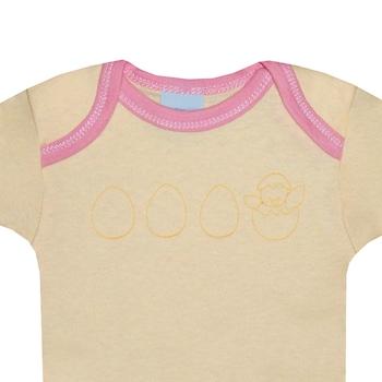 3 db-os rövid ujjú pamut body csomag, lány kombidressz - Tojás (Rózsaszín, napsárga, 67 (6 hó))