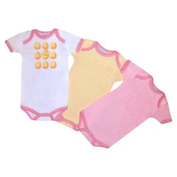 3 db-os rövid ujjú pamut body csomag, lány kombidressz - Tojás (Rózsaszín, napsárga, 81 (18 hó))