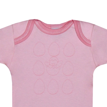 3 db-os rövid ujjú pamut body csomag, lány kombidressz - Tojás (Rózsaszín, napsárga, 71 (9 hó))