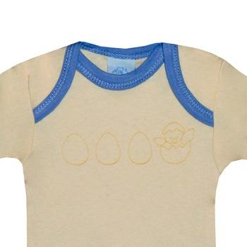 3 db-os rövid ujjú pamut body csomag, fiú kombidressz - Tojás (Kék, napsárga, 81 (18 hó))